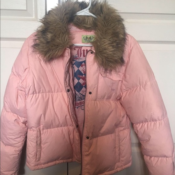 Juicy Couture Pink Puffer Jacket w/ Removable Fur